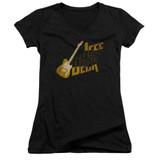 Jeff Beck That Yellow Guitar Junior Women's V-Neck T-Shirt Black