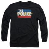The Police Three Stripes Logo Long Sleeve Adult 18/1 T-Shirt Black