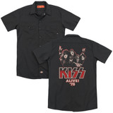 Kiss Alive 75' (Back Print) Adult Work Shirt Black