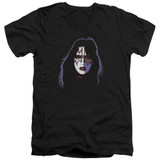 Kiss Ace Frehley Cover Adult V-Neck T-Shirt Black