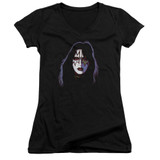 Kiss Ace Frehley Cover Junior Women's V-Neck T-Shirt Black