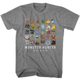 Monster Hunter Icons Graphite Heather Adult T-Shirt