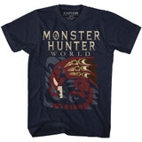 Monster Hunter Large Dragon Navy Adult T-Shirt