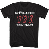 The Police '82 Tour Black Adult T-Shirt
