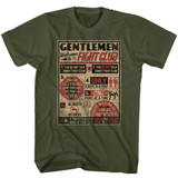 Fight Club Rules Military Green Adult T-Shirt