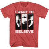 X-Files I Want To Believe Red Heather Adult T-Shirt