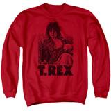 T. Rex Lounging Adult Crewneck Sweatshirt Red