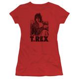 T. Rex Lounging S/S Junior Women's T-Shirt Sheer Red