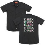T. Rex Snake(Back Print) Adult Work Shirt Black