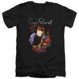 Syd Barrett Pink Floyd Madcap Syd S/S Adult V Neck 30/1 T-Shirt Black