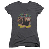 Poison Dirty Talk Junior Women's V-Neck T-Shirt Charcoal