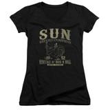 Sun Records Rockabilly Bird Junior Women's V Neck T-Shirt Black