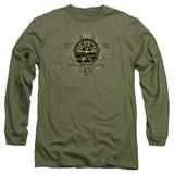 Sun Records Rock Heraldry Long Sleeve Adult 18/1 T-Shirt Military Green