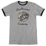 Sun Records Rockin Rooster Logo Adult Ringer T-Shirt Heather/Black
