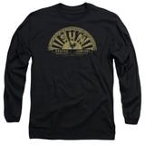 Sun Records Tattered Logo Long Sleeve Adult 18/1 T-Shirt Black