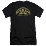 Sun Records Tattered Logo Premium Canvas Adult Slim Fit 30/1 T-Shirt Black