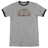 Sun Records Worn Logo Adult Ringer T-Shirt Heather/Black