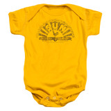 Sun Records Worn Logo Infant Baby Snapsuit Romper Gold
