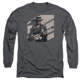 Stevie Ray Vaughan Texas Flood Long Sleeve Adult 18/1 T-Shirt Charcoal