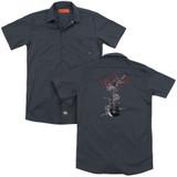 Steve Vai Axe (Back Print) Adult Work Shirt Charcoal