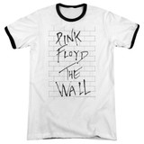 Roger Waters Pink Floyd The Wall 2 Adult Ringer T-Shirt White/Black