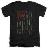Seether Bone Flag S/S Adult V Neck 30/1 T-Shirt Black