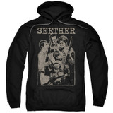 Seether Happy Family Adult Pullover Hoodie Sweatshirt Black