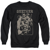 Seether Happy Family Adult Crewneck Sweatshirt Black