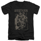 Seether Happy Family S/S Adult V Neck 30/1 T-Shirt Black
