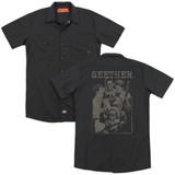 Seether Happy Family (Back Print) Adult Work Shirt Black