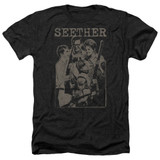 Seether Happy Family Adult Heather Black T-Shirt