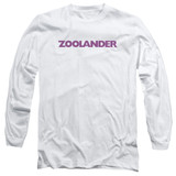 Zoolander Logo Long Sleeve Adult 18/1 T-Shirt White