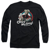 Zoolander Obey My Dog Long Sleeve Adult 18/1 T-Shirt Black