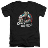 Zoolander Obey My Dog S/S Adult V-Neck T-Shirt Black