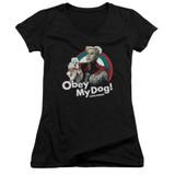 Zoolander Obey My Dog Junior Women's V-Neck T-Shirt Black