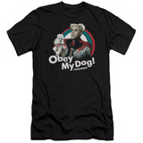 Zoolander Obey My Dog Premium Canvas Adult Slim Fit 30/1 T-Shirt Black