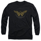 Wonder Woman Movie Distressed Logo Long Sleeve Adult 18/1 T-Shirt Black