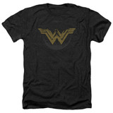 Wonder Woman Movie Distressed Logo Adult Heather Black T-Shirt