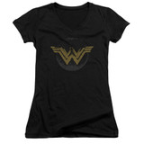 Wonder Woman Movie Distressed Logo Junior Women's T-Shirt V Neck Black
