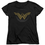 Wonder Woman Movie Distressed Logo S/S Women's T-Shirt Black