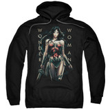 Wonder Woman Movie Armed and Dangerous Adult Pullover Hoodie Sweatshirt Black