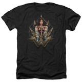 Wonder Woman Movie Wonder Blades Adult T-Shirt Heather Black