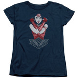 Wonder Woman Movie Amazon S/S Women's T-Shirt Navy