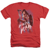 Wonder Woman Movie American Hero Adult T-Shirt Heather Red