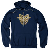 Wonder Woman Movie Sword Emblem Adult Pullover Hoodie Sweatshirt Navy