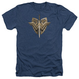 Wonder Woman Movie Sword Emblem Adult T-Shirt Heather Navy