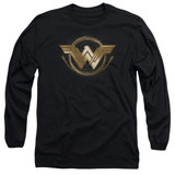 Wonder Woman Movie Lasso Logo Long Sleeve Adult 18/1 T-Shirt Black