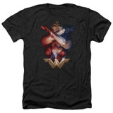 Wonder Woman Movie Arms Crossed Adult T-Shirt Heather Black