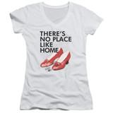 Wizard of Oz No Place Like Home Junior Women's T-Shirt V Neck White