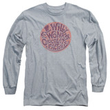 Willy Wonka and the Chocolate Factory Circle Logo Long Sleeve Adult 18/1 T-Shirt Athletic Heather